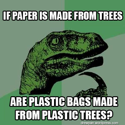 The philosoraptor ponders fake plastic trees